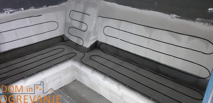 namestitev grelnega kabla na savna klop